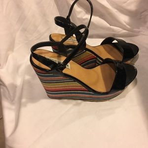 94dc8a48ac76 Steve Madden Shoes - Steve Madden rainbow wedge heels strappy 9.5 M